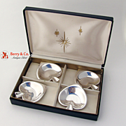 Spade Suit 4 Spoon Holders or Individual Ashtrays Sterling Silver Reed & Barton