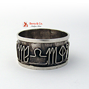 Zodiac Sign Napkin Ring Hand Made Sterling Silver