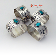 Navajo Napkin Rings 4 Sterling Silver Turquoise 1970