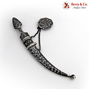 Antique Niello Silver Mini Sword Knife Belt Decoration 1910th, Russia Кавказ