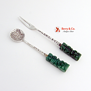 Spoon and Fork Carved Agade Sterling Silver Aztec Mexico