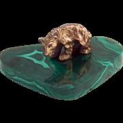 Bear Figure 835 Standard Silver Malachite Stand Germany