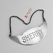Sherry Bottle Tag Sterling Silver Webster