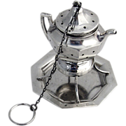 Figural Teapot Tea Ball Sterling Silver 1920