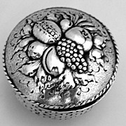 Snuff Box Fruit Basket 800 German Silver Hanau 1890