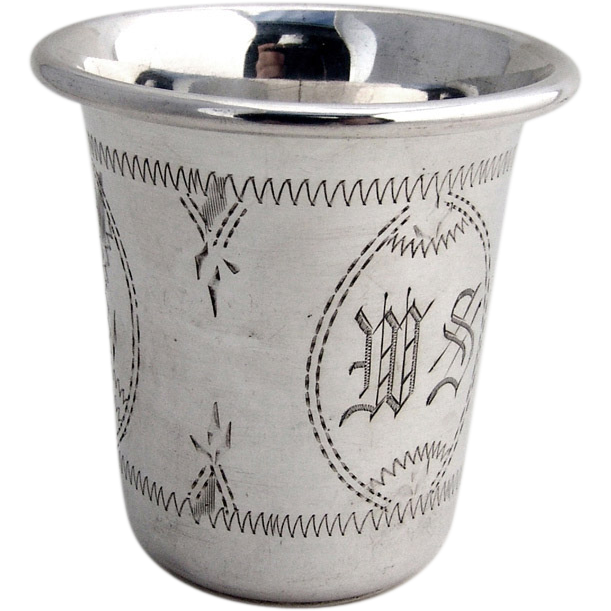 Vodka Or Kiddush Cup Sterling Silver Engraved From