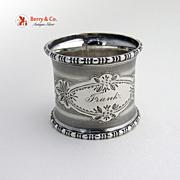 Napkin Ring Greek Key Coin Silver 1880