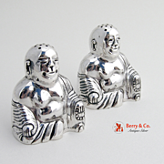 Japanese Buddha Salt and Pepper Shakers Sterling 950 c.1940
