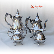 Baroque 4 Piece Tea and Coffee Set Wallace Silverplate 1941