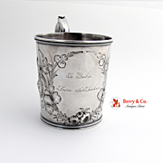 Chased Cup Mug Gorham Coin Silver 1860