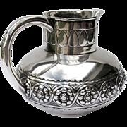 Large Pitcher Portuguese 833 Silver Repousse 1920