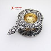 Tea Strainer Underplate 800 Silver German 1890