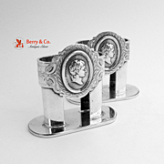 Medallion Napkin Rings 2 Coin Silver 1860