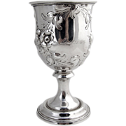Water Goblet Coin Silver 1870 Repousse