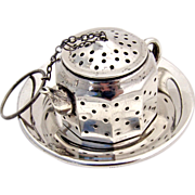 Figural Teapot Tea Ball Underplate Sterling Silver Amcraft 1940