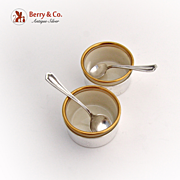 Pair of Salt Cellars and Spoons Sterling Silver Shreve San Francisco 1920
