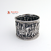 Indian Wedding Scene Napkin Ring Silver 1900