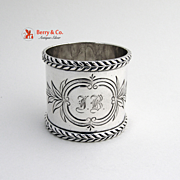Napkin Ring Leaf Coin Silver 1890