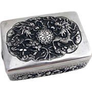 Mythical Snuff Box Chinese Export Silver 1900