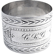 Napkin Ring Bright Cut Sterling Silver 1900