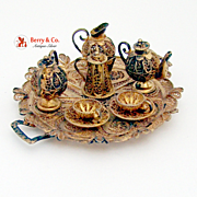 Miniature Tea Set Tray Cups Saucers Creamer Sugar Bowl Filigree Continental Sterling Silver Gilt 1930