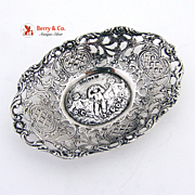 Dresser Trinket Tray Openwork Cupids Roses Swedish 830 Silver 1954