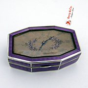 Jewelry Box Clock Lid Guilloche Enamel Swiss 935 Sterling Silver Juvenia Fab Suisse Hand Painted Flowers Violet 1882 - 1934