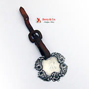 Luggage Tag Applied Flowers Leather Belt Sterling Silver 1900