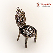 Miniature Chair Filigree Detailed Sterling Silver 1900
