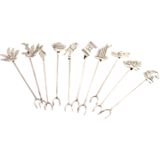 Cocktail Forks Set of 10 Figural Finials Mexican Sterling Silver 1960