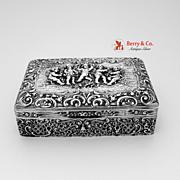 German 800 Silver Hanau Dresser Box Cherub Scroll 1900