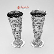 English Sterling Silver Bud Vases 1959 Maudsley Landsvorough