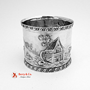 Village Dog Hunting Wolf Scene Napkin Ring Coin Silver 1900