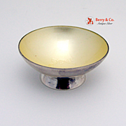 Danish Salt Cellar Cream Enamel Chaplet Sterling Silver 1960