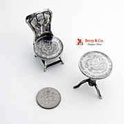 Miniature Furniture Set Table Chair Chinese Export Silver Canton Coin 1890