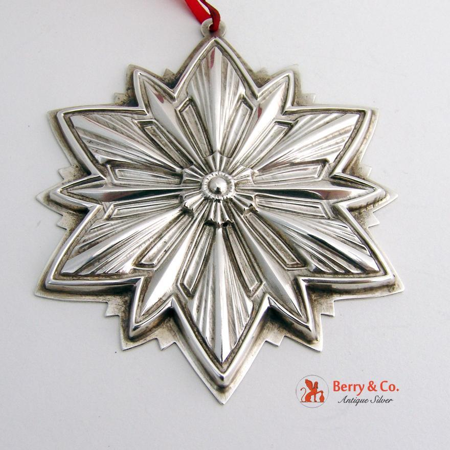 christmas ornament 1993 snowflake sterling silver gorham berry company antique silver ruby lane - Antique Silver Christmas Decorations