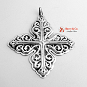 Christmas Cross Ornament Sterling Silver Reed and Barton 1978
