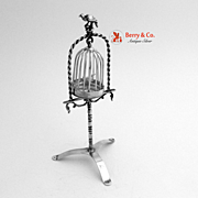 Miniature Bird Cage and Stand Sterling Silver Holland 1900