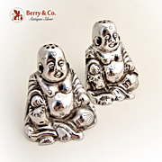 Chinese Budai Laughing Buddha Salt and Pepper Shakers Sterling Silver 1920