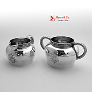 Tiffany Sterling Silver Creamer and Sugar Bowl 1890