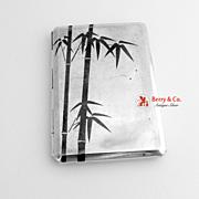 Japanese Sterling Silver Cigarette Case Niello Bamboo 1940