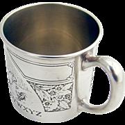 Sterling Silver Alphabet Baby Cup Acid Blackinton 1920