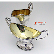 Medallion Sterling Silver Creamer And Sugar Bowl Krider