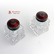 Sterling Silver Salt and Pepper Shakers Norway Enamel