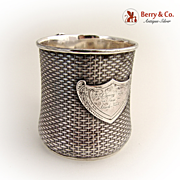 Basket Weave Christening Cup Wood and Sons Sterling Silver