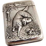 Hunting Dog Match Safe La Pierre 1900 Sterling Silver