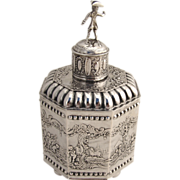Ornate Dutch Tea Caddy Figural 800 Standard Silver