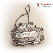 Whiskey Bottle Tag Sterling Silver 1950