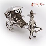 Rickshaw Figure Silver Plate 1940