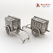 Rickshaw Salt and Pepper Shakers Japanese Sterling Silver